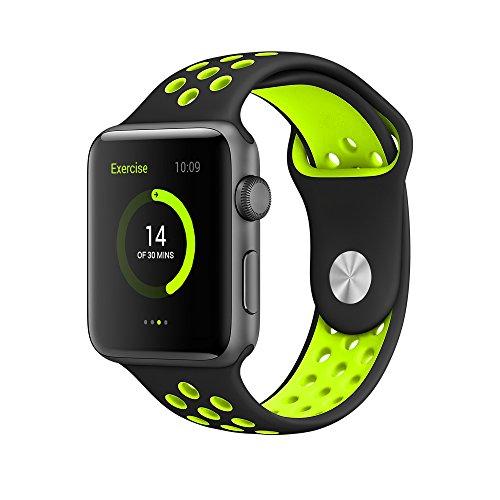 EloBeth For Apple Watch Armband Series 1 Series 2- Sport Smart Watch Silikon Strap Replacement Wrist Band Uhrenarmband Ersatzband Bügel für Apple iWatch/Apple Watch Nike+ (42mm, Schwarz/Gelb)
