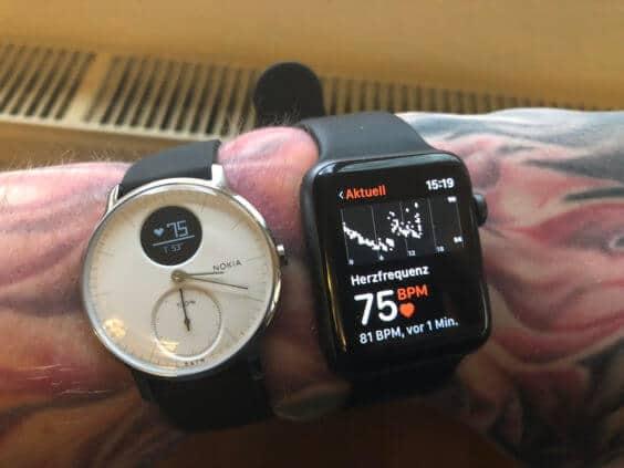 Nokia Steel HR misst sich mit der Apple Watch, Bild: Stefan Keller